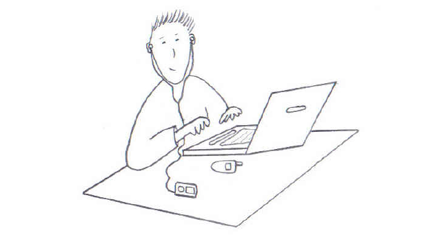 sketch of person typing